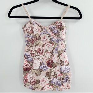 Aritzia Talula floral corset style tank top